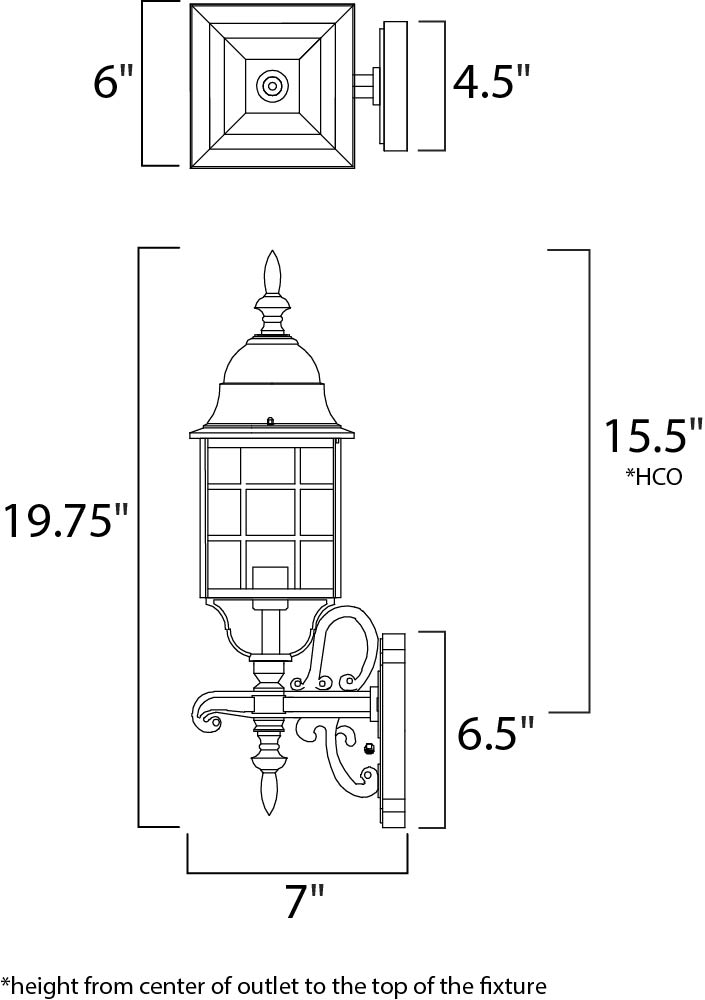 Maxim North Church Outdoor Wall Mount Model: 1050BK Line Drawing