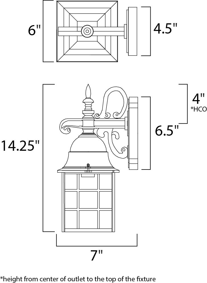 Maxim North Church Outdoor Wall Mount Model: 1051BK Line Drawing