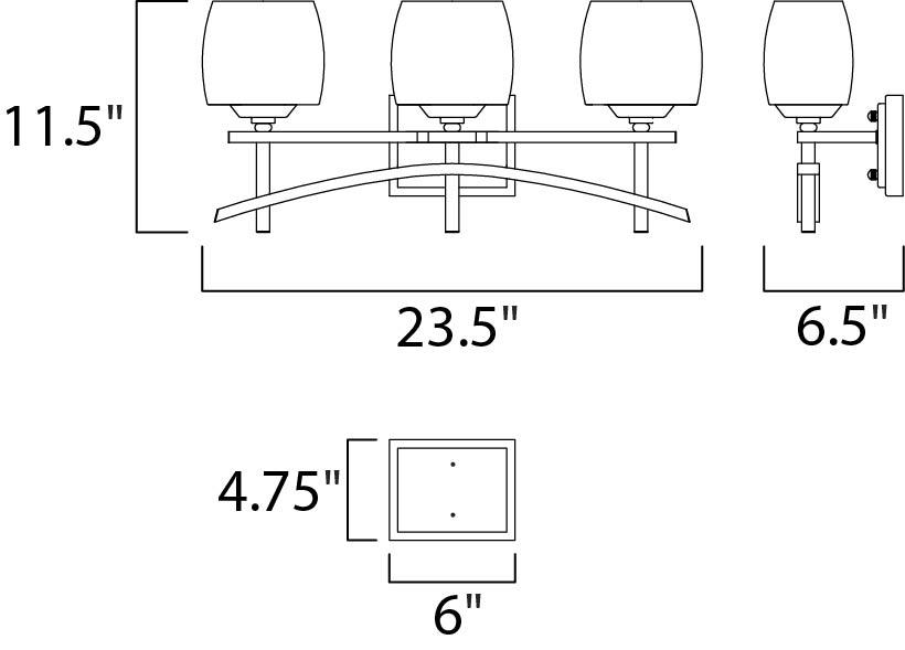 Maxim Asiana Bath Vanity Model: 10993WSRC Line Drawing