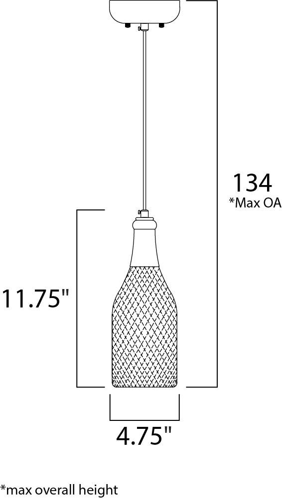Maxim Vino Single Pendant Model: 12161WTWT Line Drawing