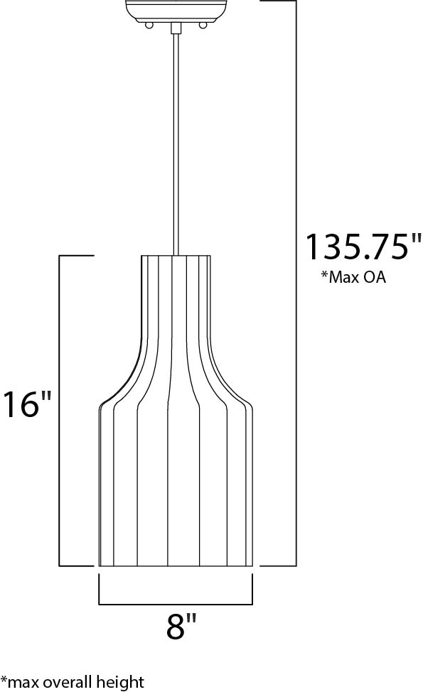 Maxim Cocoon Single Pendant Model: 12183WTPC Line Drawing
