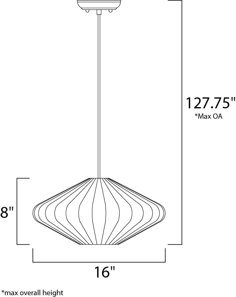 Maxim Cocoon Single Pendant Model: 12185WTPC Line Drawing