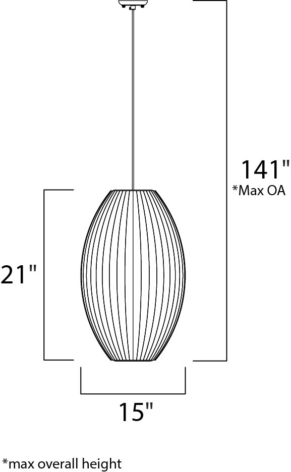 Maxim Cocoon Single Pendant Model: 12188WTPC Line Drawing