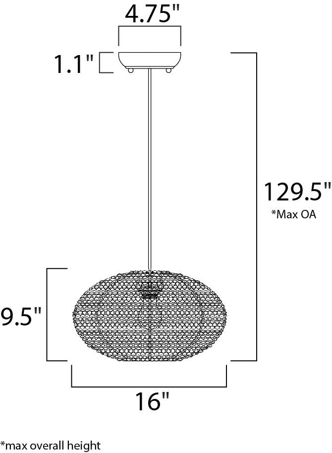 Maxim Twisp Single Pendant Model: 12192CP Line Drawing