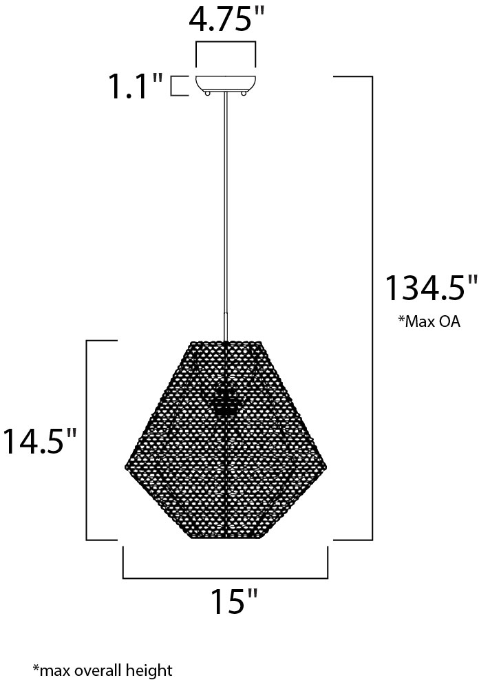 Maxim Twisp Single Pendant Model: 12197CP Line Drawing