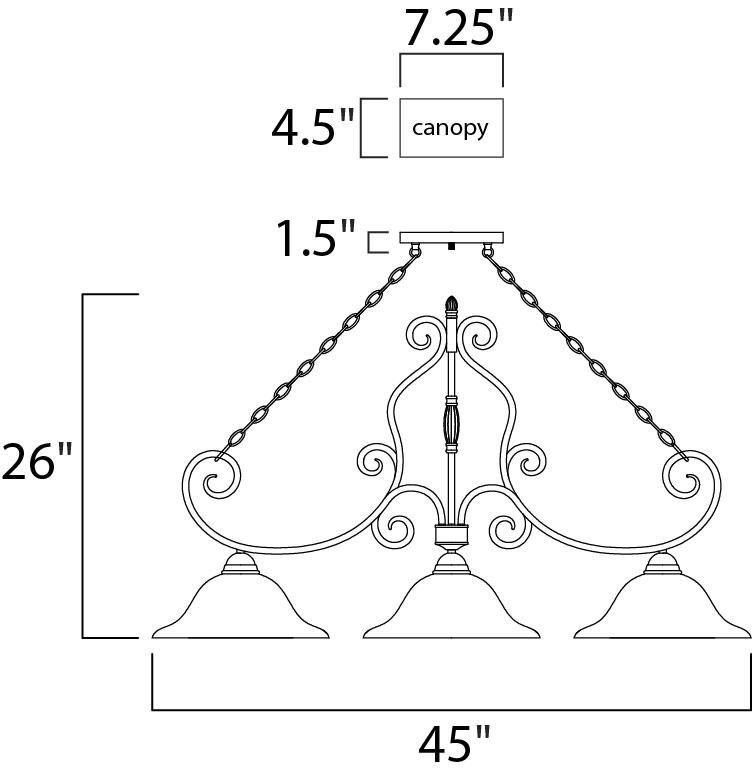 Maxim Manor Linear Pendant Model: 12208FIOI Line Drawing
