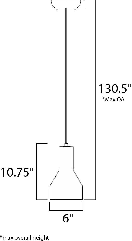Maxim Crete Single Pendant Model: 12392GYPC Line Drawing