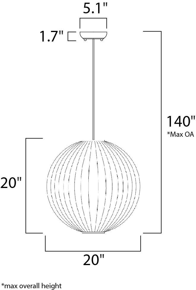 Maxim Norwood Single Pendant Model: 12406UDBK Line Drawing