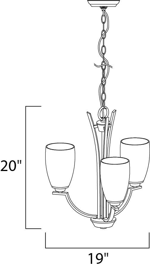 Maxim Rocco Mini Chandelier Model: 20023SWOI Line Drawing