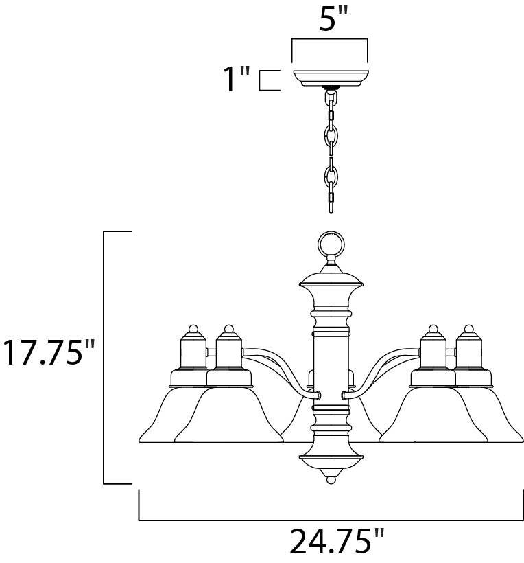 Maxim Newburg Down Light Chandelier Model: 20325MROI Line Drawing