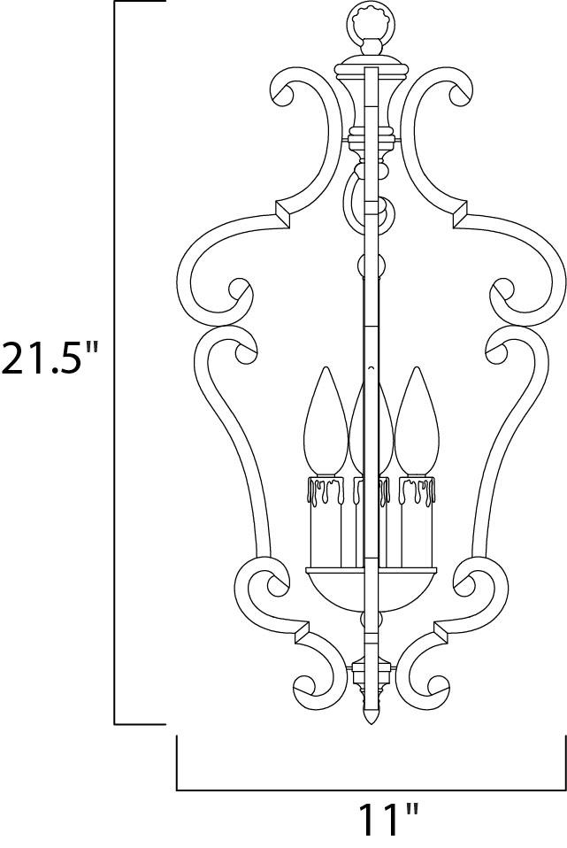 Maxim Richmond Entry Foyer Pendant Model: 20742CU Line Drawing