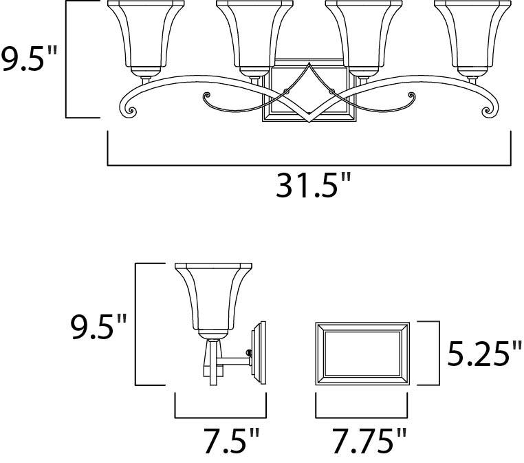 Maxim Oak Harbor Bath Vanity Model: 21074FLRB Line Drawing