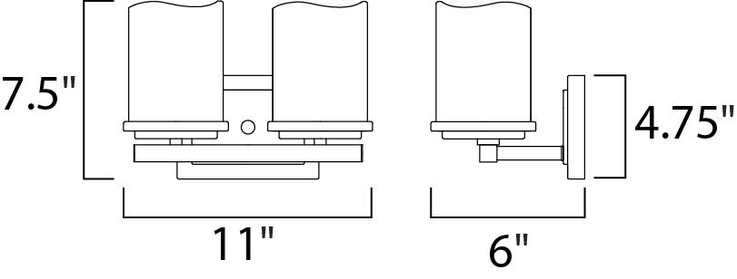 Maxim Luminous Bath Vanity Model: 21142SCRE Line Drawing