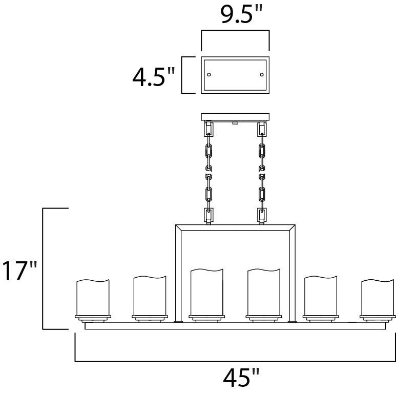 Maxim Luminous Single Tier Chandelier Model: 21148SCRE Line Drawing