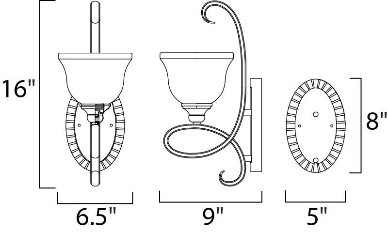 Maxim Infinity Wall Sconce Model: 21311WSOI Line Drawing