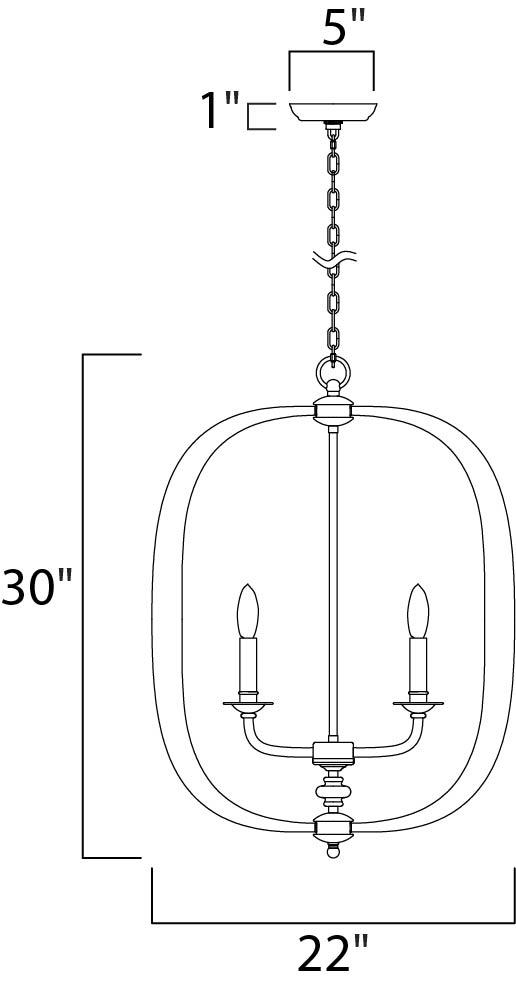 Maxim Fairmont Single Pendant Model: 22373NAB Line Drawing
