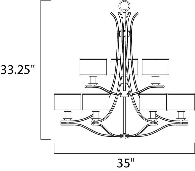 Maxim Orion Multi Tier Chandelier Model: 23036SWSN Line Drawing