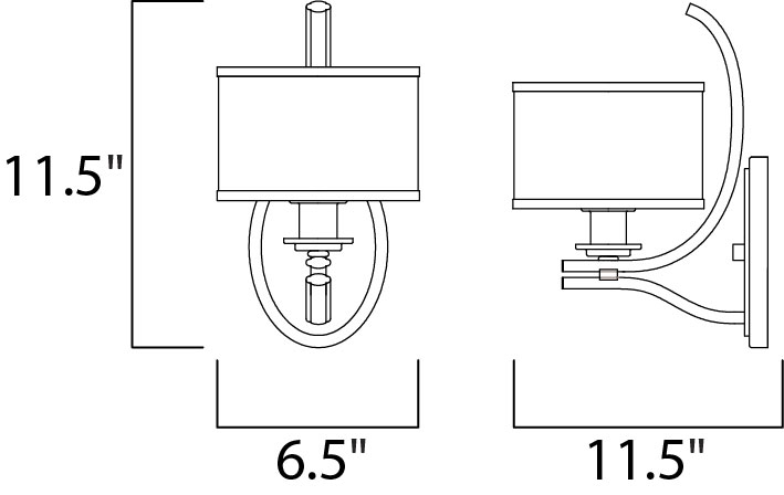 Maxim Orion Wall Sconce Model: 23038SWSN Line Drawing