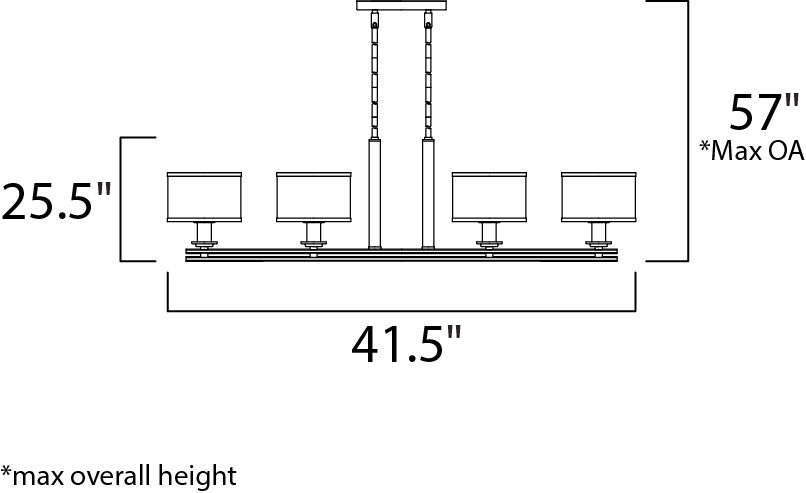 Maxim Orion Linear Pendant Model: 23039SWSN Line Drawing