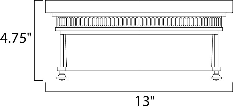 Maxim Hi Bay Flush Mount Model: 25000CLBZ Line Drawing