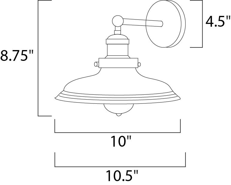 Maxim Mini Hi-bay Mini Hi Bay Wall Sconce Model: 25067MSKACP Line Drawing