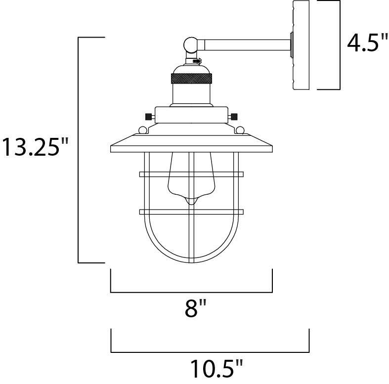 Maxim Mini Hi-bay Mini Hi Bay Wall Sconce Model: 25070SN Line Drawing