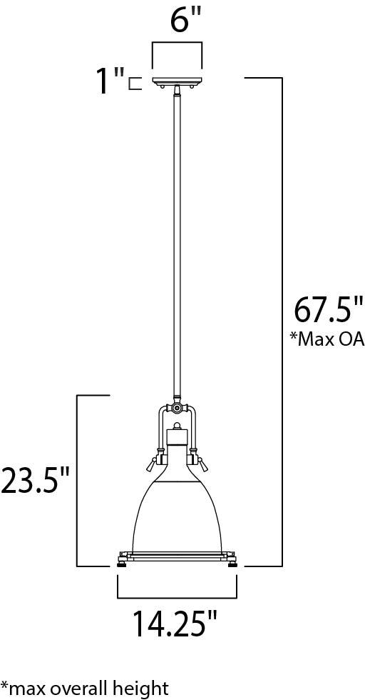 Maxim Hi Bay Single Pendant Model: 25104FTPN Line Drawing