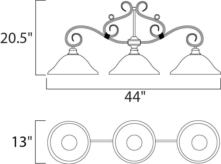 Maxim Pacific Linear Pendant Model: 2653MRKB Line Drawing