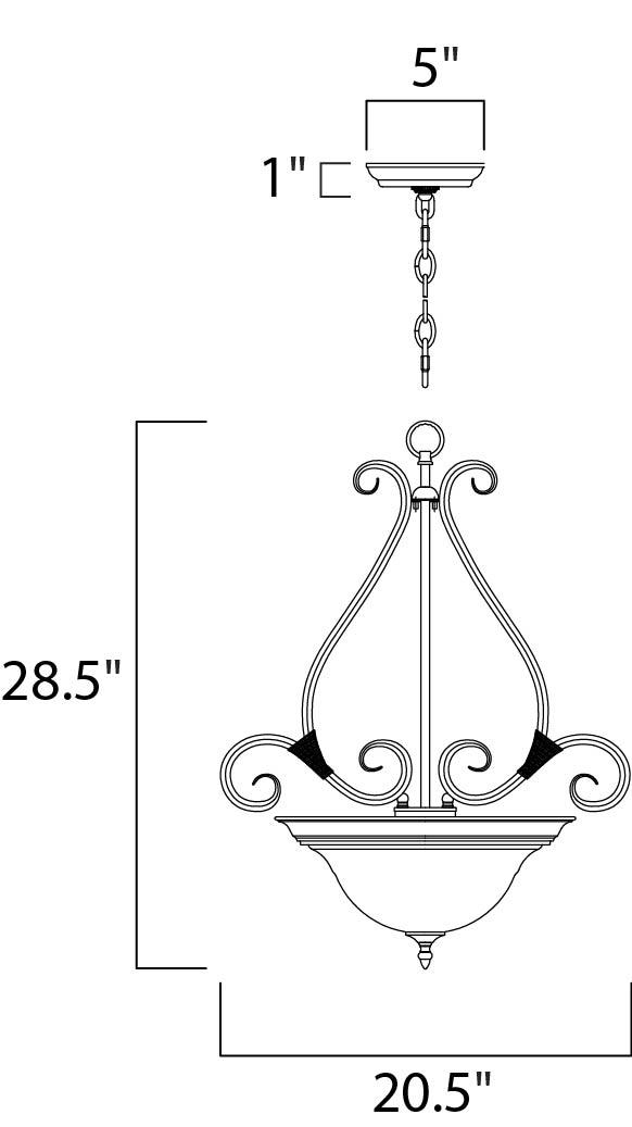 Maxim Pacific Invert Bowl Pendant Model: 2654MRKB Line Drawing