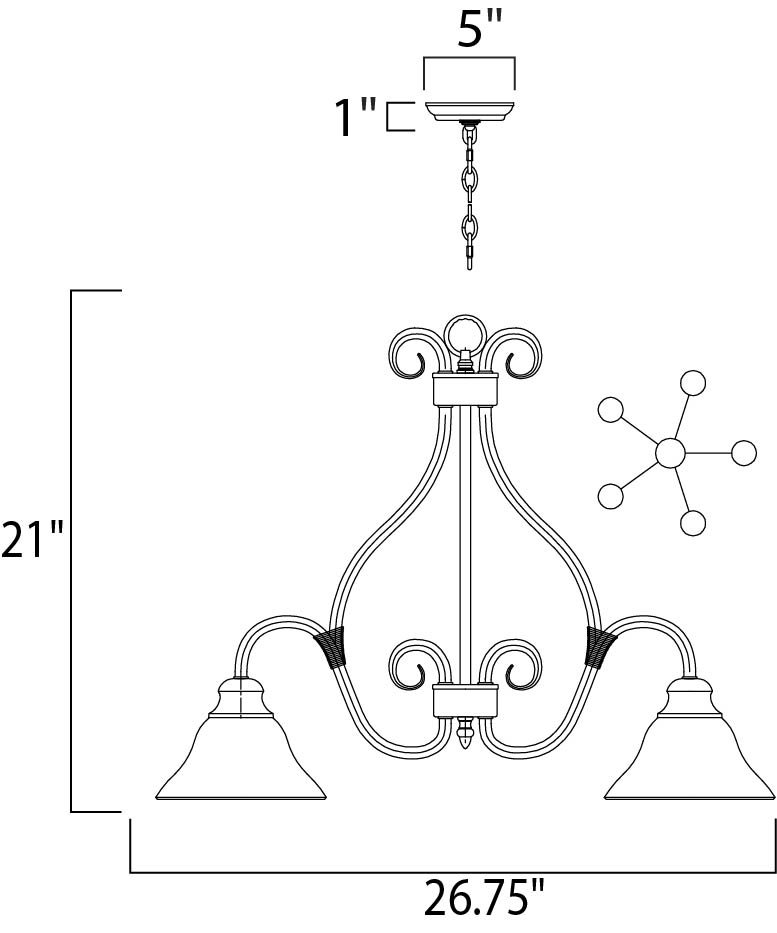 Maxim Pacific Down Light Chandelier Model: 2657MRKB Line Drawing