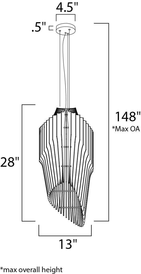 Maxim Copenhagen Entry Foyer Pendant Model: 27536UD Line Drawing