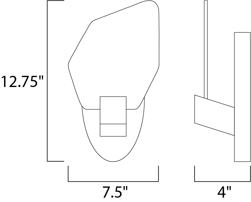 Maxim Boulder Wall Sconce Model: 30143BZGTGLD Line Drawing