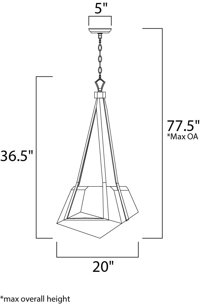 Maxim Boulder Single Pendant Model: 30144BZGTGLD Line Drawing