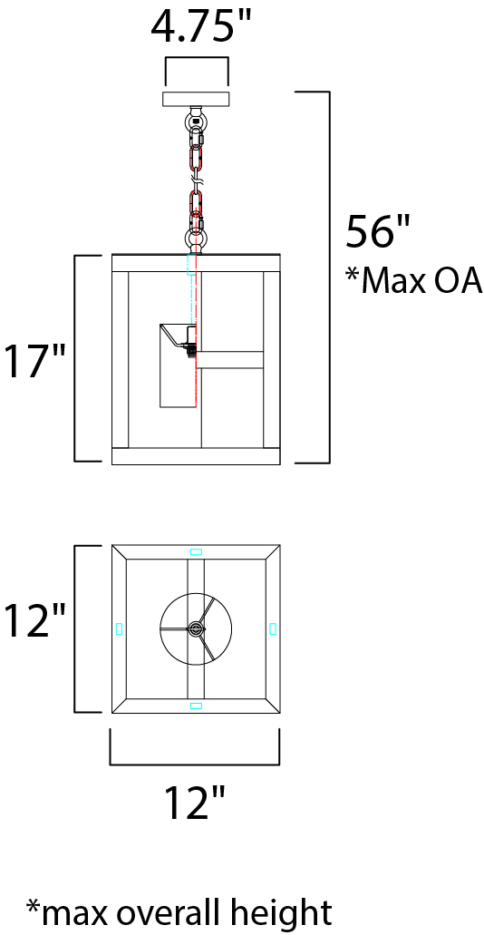 Maxim Cottage Single Pendant Model: 35069WWDCI Line Drawing