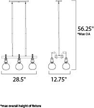 Maxim Kinetic LED Linear Pendant Model: 39696CLDSN Line Drawing