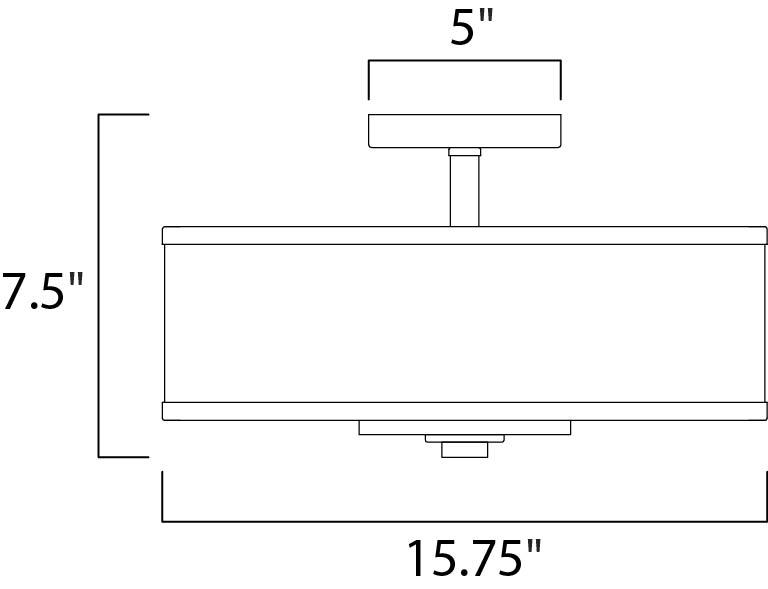 Maxim Metro Semi Flush Mount Model: 39821BCWTPC Line Drawing