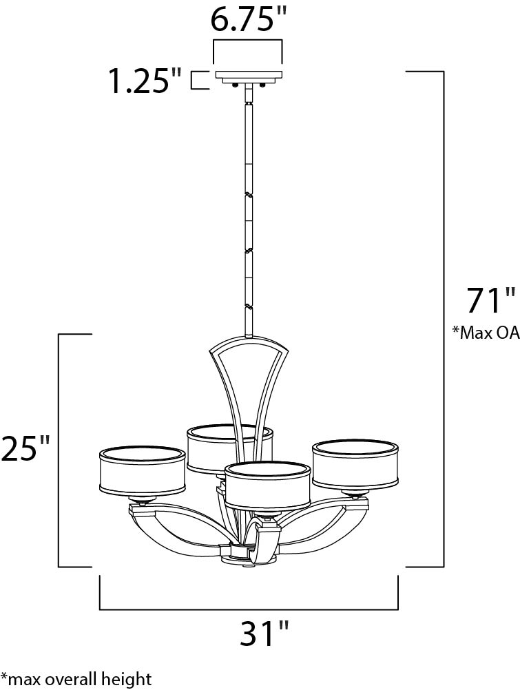 Maxim Metro Single Tier Chandelier Model: 39824BCWTPC Line Drawing