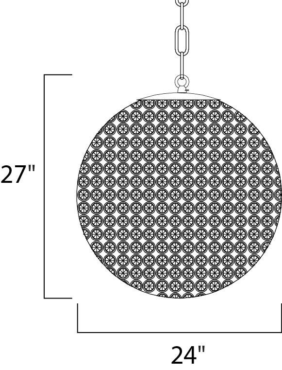 Maxim Glimmer Single Tier Chandelier Model: 39887BCBZ Line Drawing