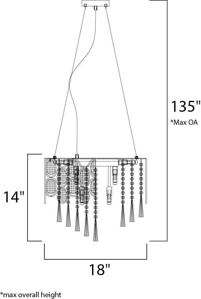 Maxim Jewel Single Pendant Model: 39924BCPC Line Drawing