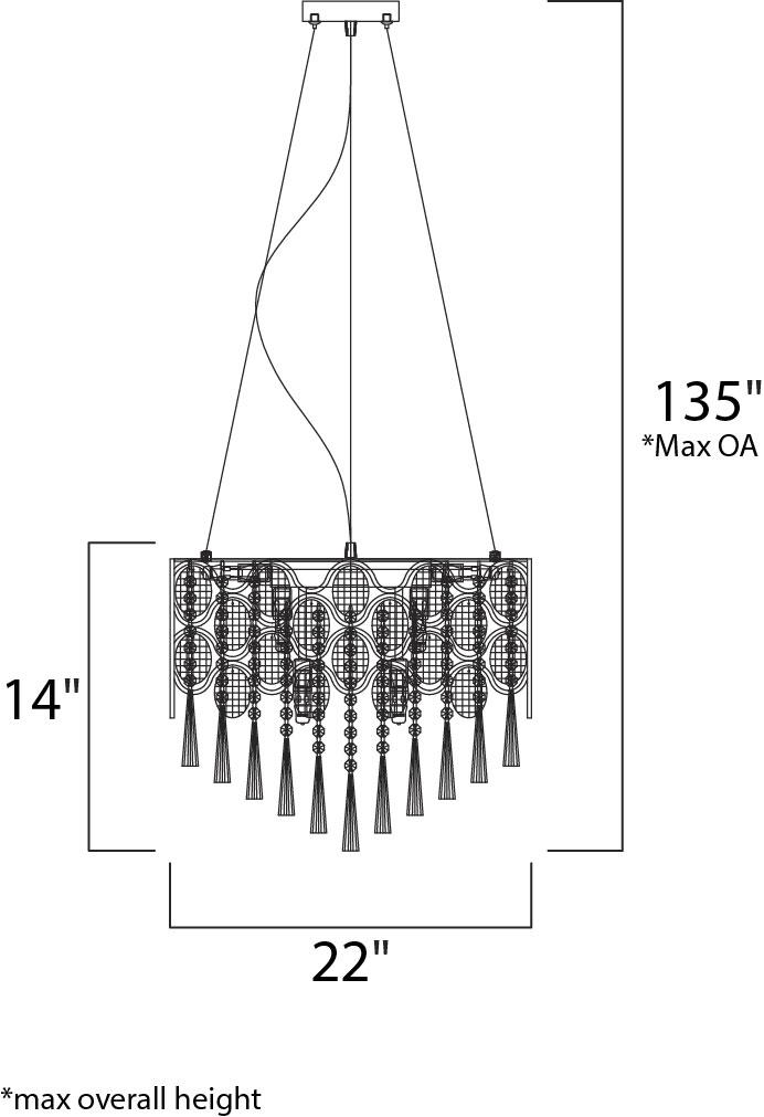 Maxim Jewel Single Pendant Model: 39925BCPC Line Drawing