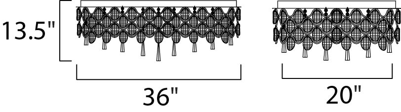 Maxim Jewel Flush Mount Model: 39928BCPC Line Drawing