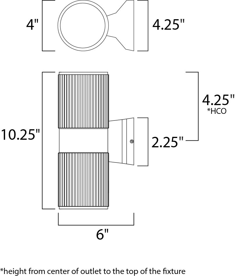 Maxim Lightray Outdoor Wall Mount Model: 6123ABZ Line Drawing