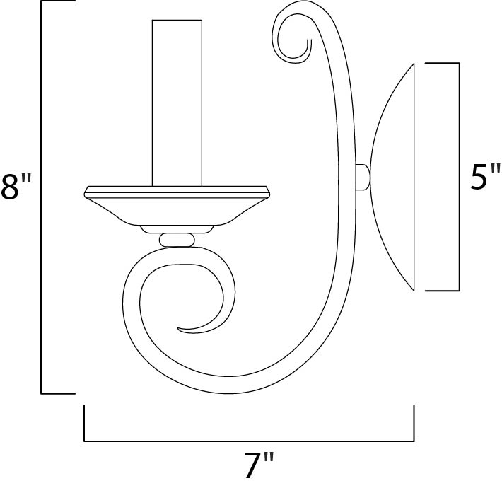 Maxim Loft Wall Sconce Model: 70001OI Line Drawing