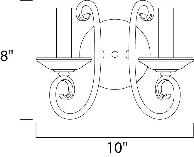 Maxim Loft Wall Sconce Model: 70002OI Line Drawing