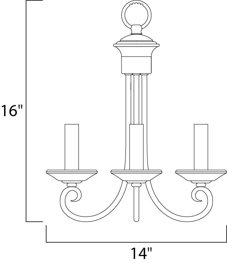 Maxim Loft Mini Chandelier Model: 70003OI Line Drawing