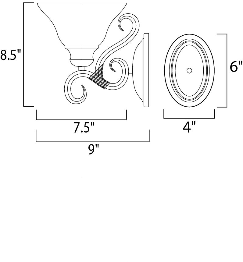 Maxim Pacific Wall Sconce Model: 8021MRKB Line Drawing