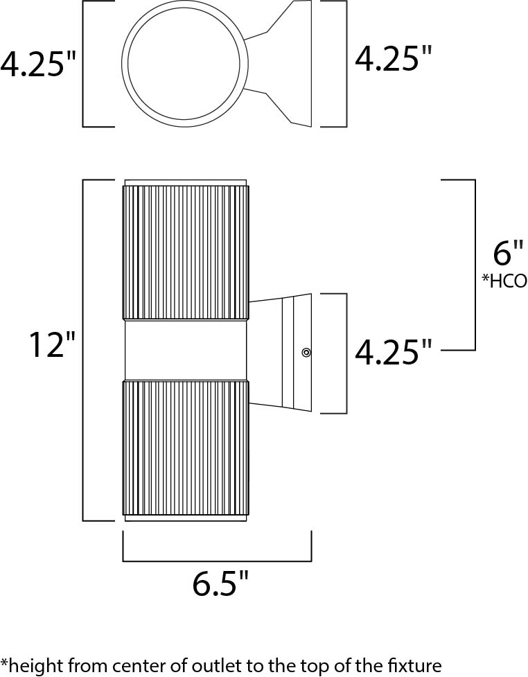 Maxim Lightray LED Outdoor Wall Mount Model: 86126AL Line Drawing