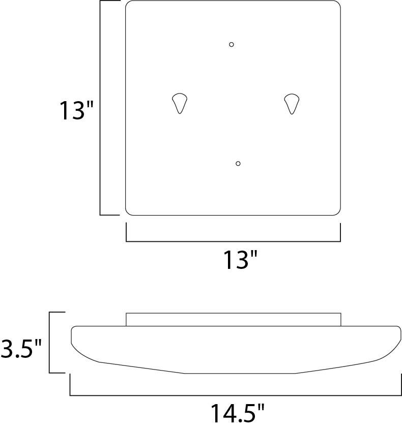Maxim Low Profile Ee Flush Mount Model: 87206WT Line Drawing