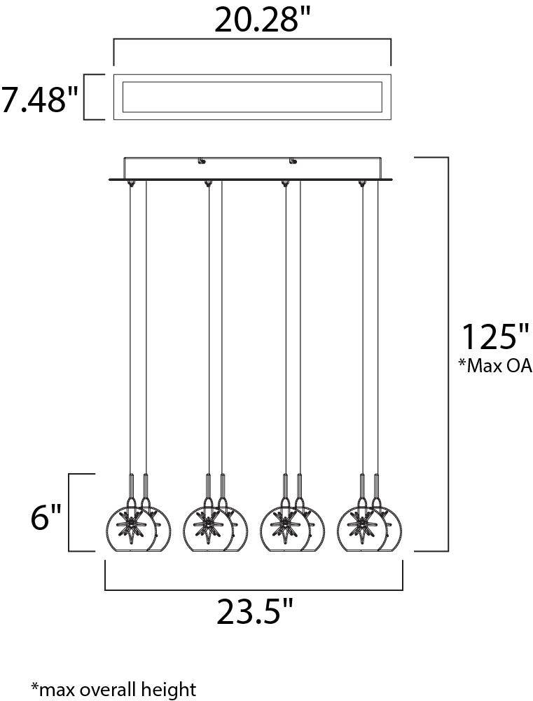 ET2 Starburst Linear Pendant Model: E20107-25 Line Drawing