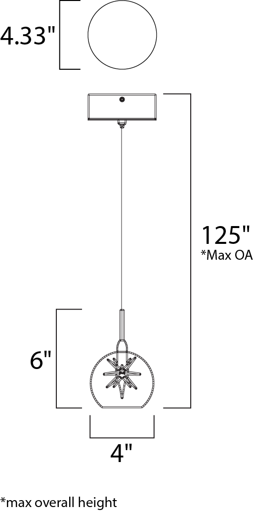 ET2 Starburst Mini Pendant Model: E20108-25 Line Drawing